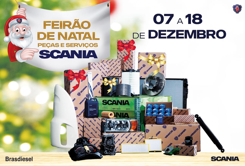 As concessionárias da Brasdiesel promovem na próxima semana o FEIRÃO DE NATAL de PEÇAS e SERVIÇOS SCANIA.